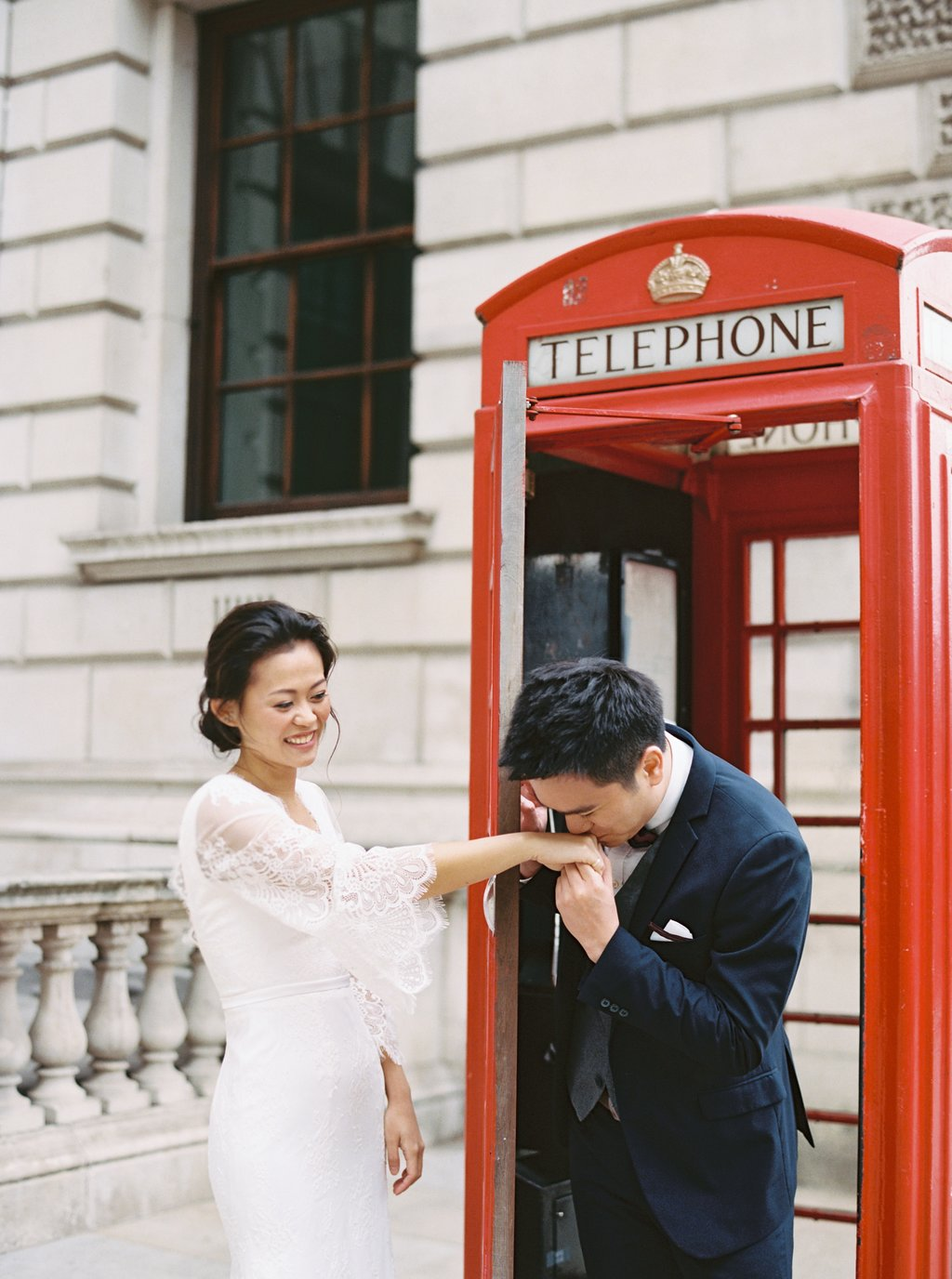 Per wedding photography London Westminster phone booth
