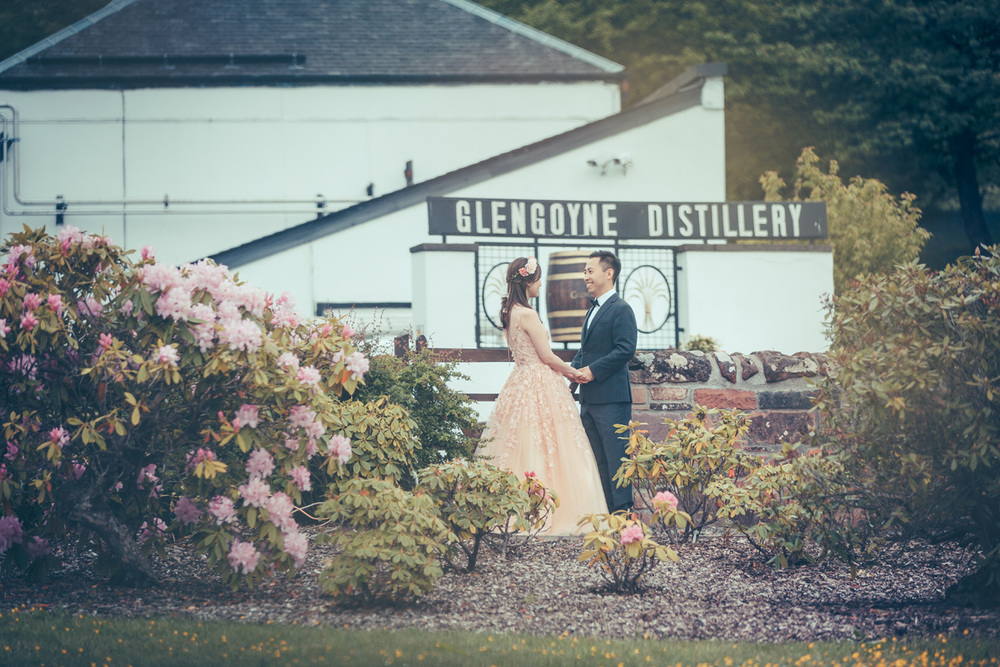 Culture Meets Glam Engagement Shoot at Glasgow Glengoyne Distillery -Lilian and Phil